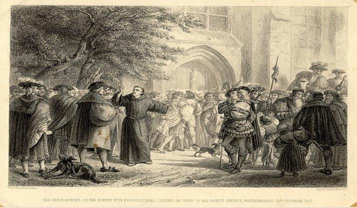 Cele 95 de teze, batute pe poarta catedralei din Wittenberg